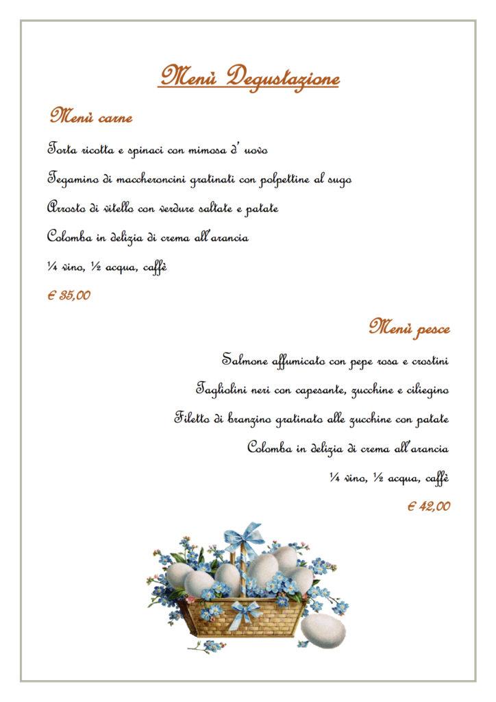 Menù Degustazione Pasqua 2018 Ristorante Pizzeria S'Aligusta