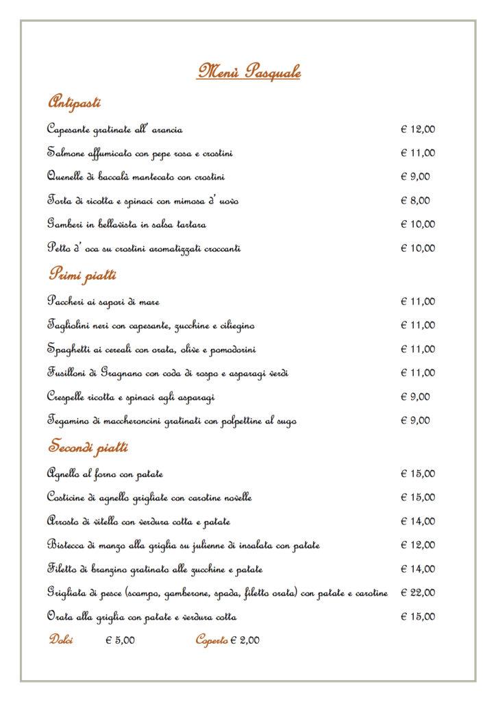 Menù Pasquale-Saligusta Padova